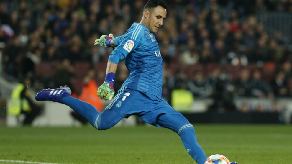 Keylor Navas en el Barcelona – Real Madrid de la ida de las semifinales de la Copa del Rey. (AFP)