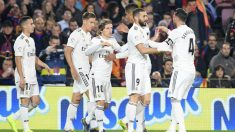 Los jugadores del Real Madrid celebran un gol (AFP)