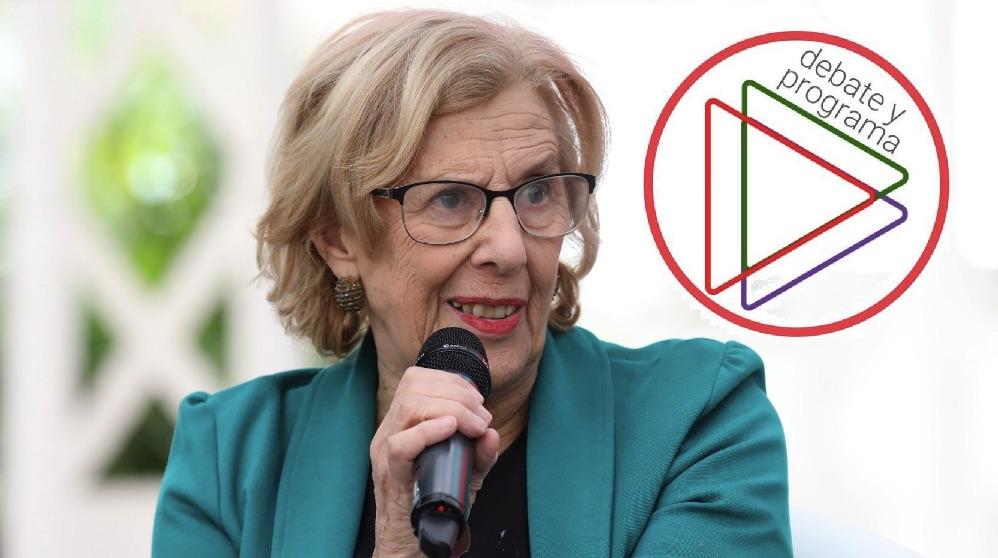 Manuela Carmena y el logo de Debate y Programa. (Foto. Madrid)