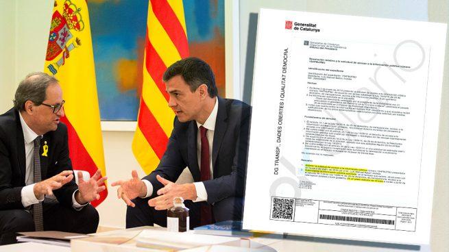 El Gobierno bloqueó en el portal de transparencia la publicación de las 21 exigencias de Torra