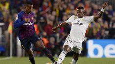 Vinicius, ante Semedo, en el Barcelona – Real Madrid (AFP)