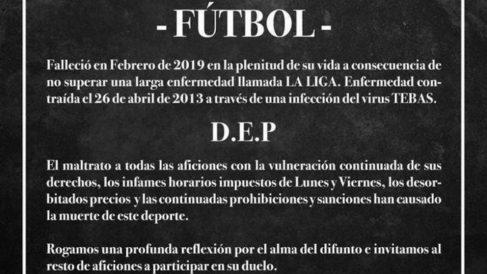 Los aficionados del Alavés publicaron una esquela por la muerte del fútbol. (Twitter)