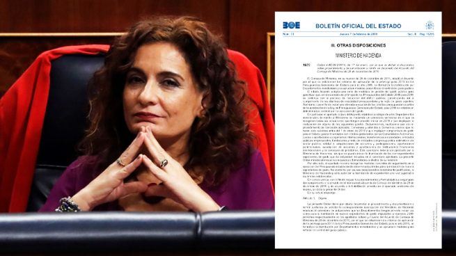 La ministra de Hacienda, María Jesús Montero, y la orden publicada en el BOE.