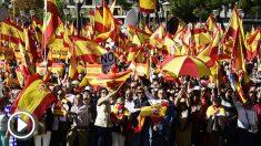 Multitudinaria manifestación en Colón por la unidad de España. (Foto: AFP)