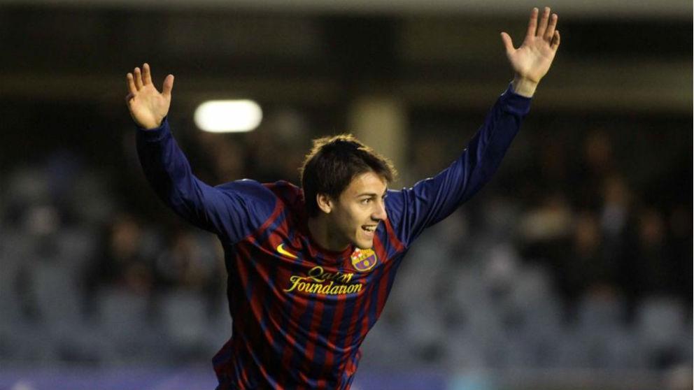 Martí Riverola durante su etapa en la cantera del Barça. (EFE)