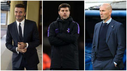 David Beckham, Mauricio Pochettino y Zinedine Zidane fueron pillados cenando juntos en un restaurante de Londres. (Getty)