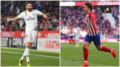 Benzema y Griezmann llegan al derbi como líderes de Madrid y Atlético. (Getty)