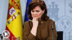 La vicepresidenta del Gobierno, Carmen Calvo, durante la rueda de prensa posterior a la reunión del Consejo de Ministros celebrada este viernes en Moncloa. Foto: EFE