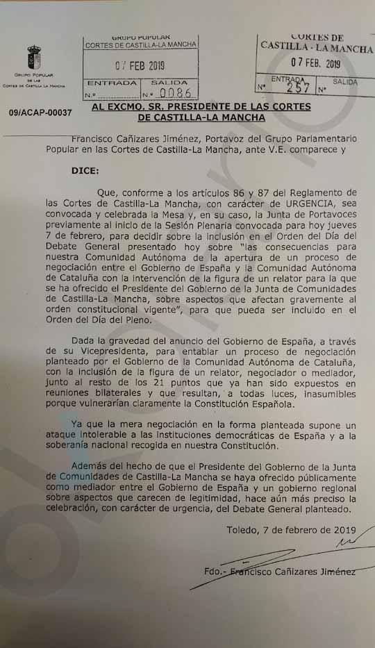 """Page afirma estar en contra del """"relator"""" y acto seguido impide su crítica en las Cortes de Castilla-La Mancha"""