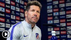 Diego Simeone comparece en la previa del derbi. (EFE)