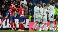 Jugadores del Atlético de Madrid y Real Madrid celebrando goles.