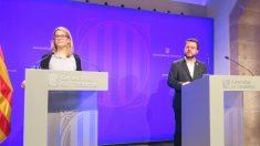Elsa Artadi y Pere Aragones en rueda de prensa. Foto: Europa PRess