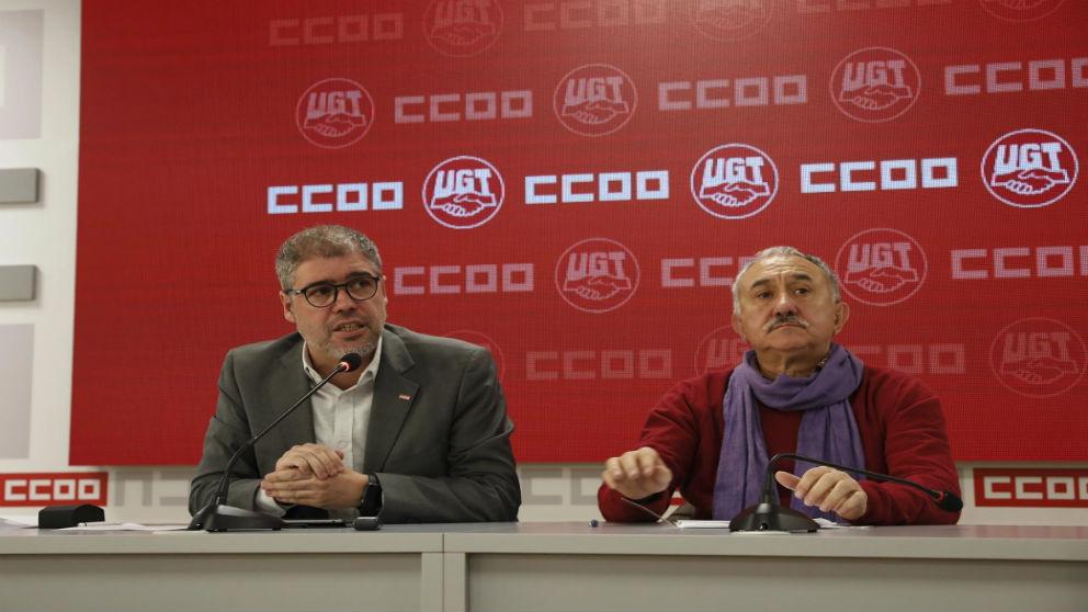 Los líderes sindicales de CCOO y UGT Unai Sordo y Pepe Álvarez