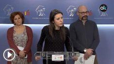 La portavoz de Unidos Podemos en el Congreso, Irene Montero, este viernes en rueda de prensa