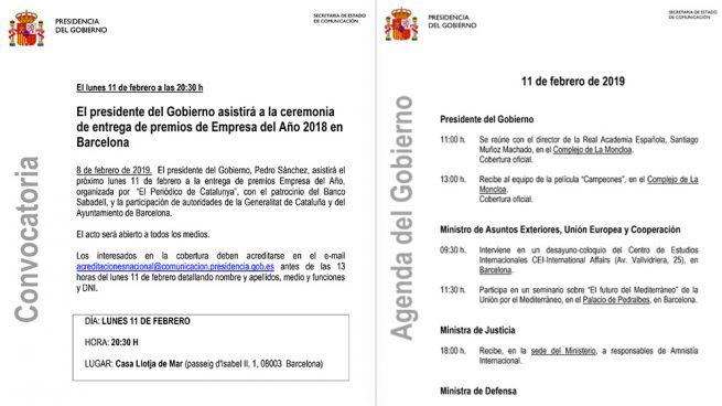 Sánchez cancela por sorpresa su asistencia a un acto en Barcelona tras romper el diálogo con Torra