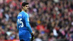 Courtois, en el derbi del Wanda Metropolitano. (AFP)