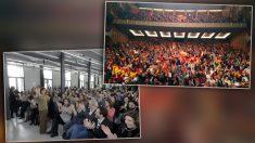A la izquierda, el acto de Carmen Calvo y Armengol en Inca. A la derecha, cerca de 2.000 personas en el acto de Vox en el Auditorio de Palma.