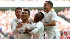 Los jugadores del Madrid celebran un gol (EFE)