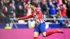 Morata celebra el gol anulado ante el Real Madrid. (AFP)