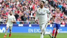 Sergio Ramos celebra su gol ante el Atlético. (EFE)