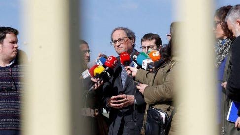 Quim Torra este sábado, durante su visita a los presos golpistas en la cárcel de Soto del Real.