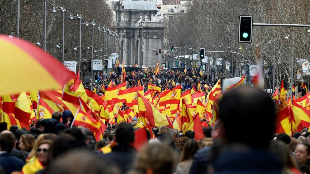 La calle de Velázquez durante la concentración en la plaza de Colón de Madrid, febrero de 2019, contra la connivencia de Sánchez con los independentistas.  EFE/VICTOR LERENA
