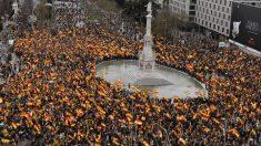 Vista aérea de la manifestación de Madrid en favor de la unidad de España