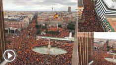 Tres vistas de la manifestación de Madrid por la unidad de España