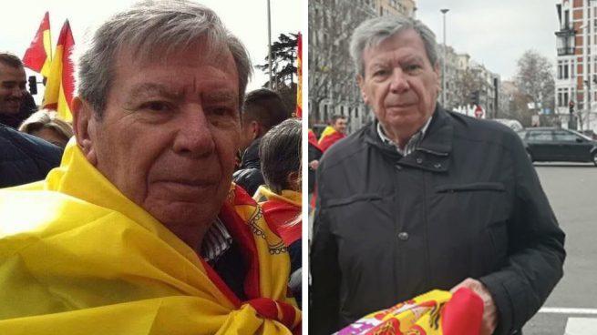 El socialista Corcuera participa en la manifestación envuelto en una bandera de España