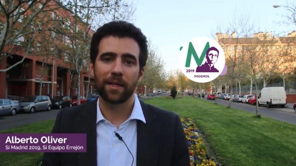 Alberto Oliver presentando su candidatura a la lista de Errejón. (Foto. YouTube)