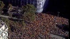 Manifestación vista desde el helicóptero de la Policía.