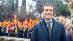Pablo Casado en la manifestación de Colón. Foto: Europa Press