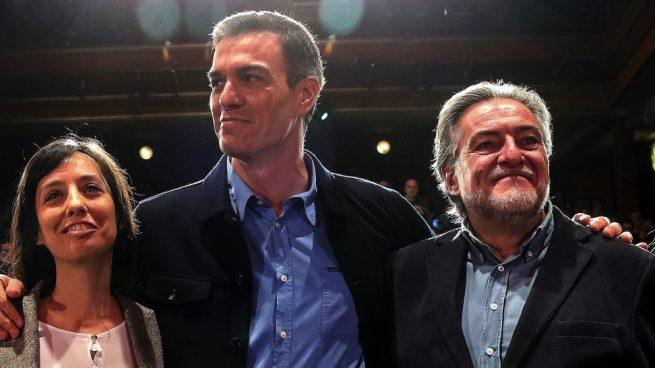 psoe Pedro Sánchez, Pepu Hernández y Mercedes González. (Foto. EFE)
