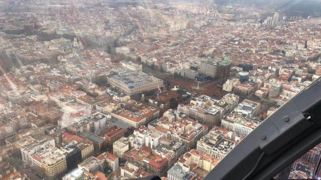 Fotografía aérea captada por la Policía de la concentración en Colón.