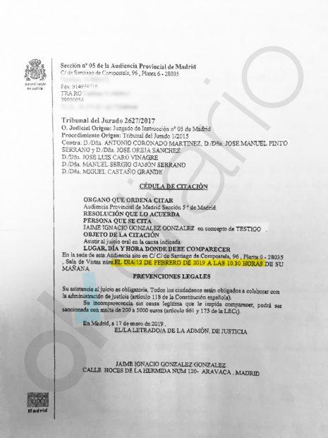 Ignacio González no ha plantado al juez porque está citado a declarar este martes