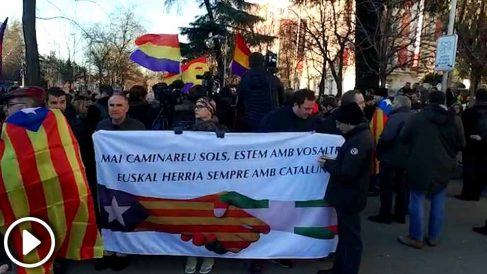 Concentración independentista en Madrid ante el juicio del 1-O