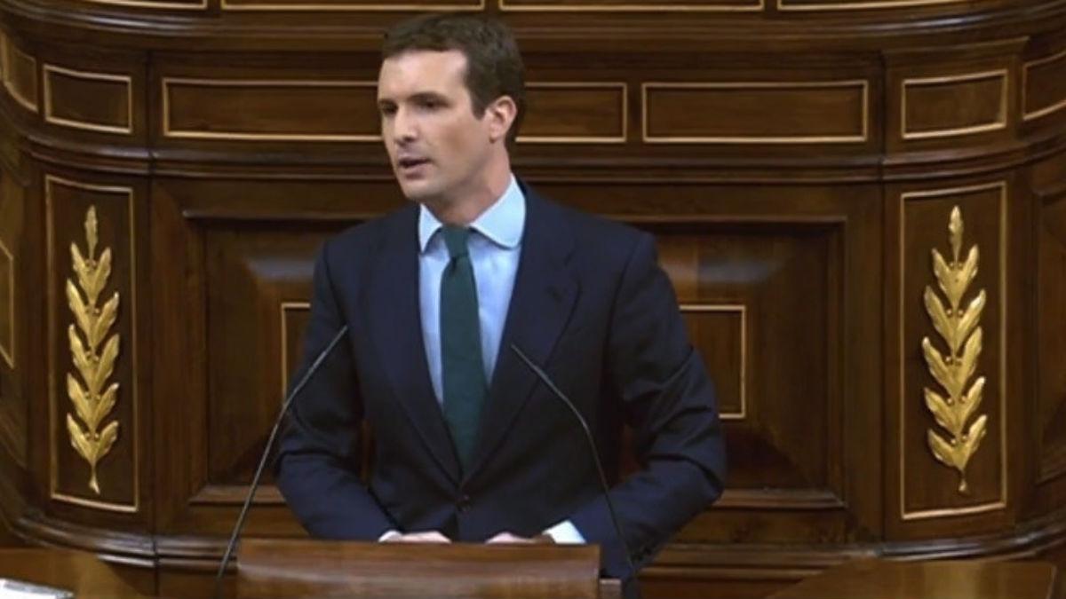 Pablo Casado este martes en el Congreso (EFE).