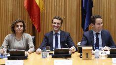 Dolors Montserrat, Pablo Casado y Teodoro García-Egea. Foto: Europa Press