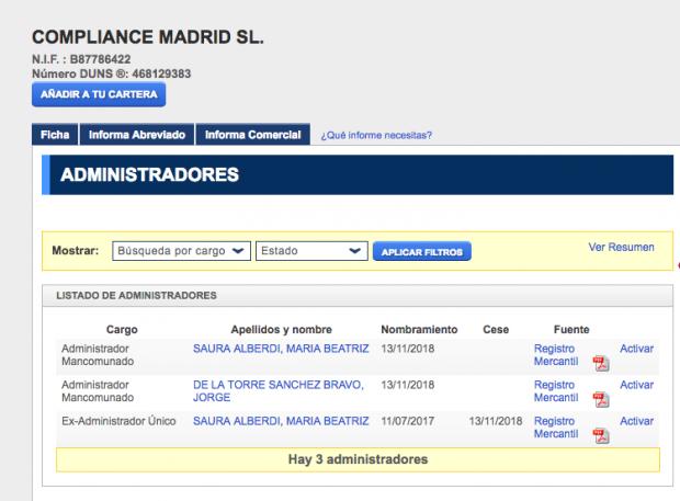 La mujer del juez Velasco tiene una sociedad domiciliada en el bufete investigado por la UDEF
