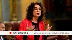 La votación de los Presupuestos 2019 en el Congreso de los Diputados, en directo