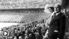 Franco, en el palco del Camp Nou.