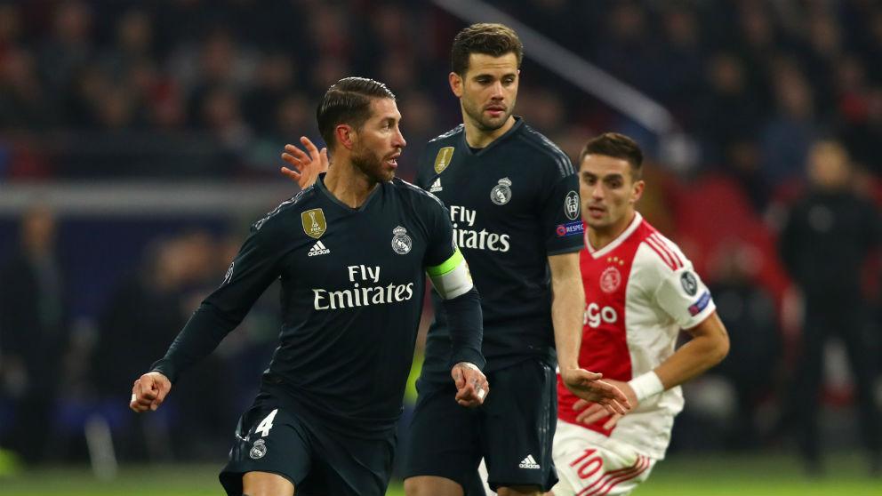 Sergio Ramos, durante el Ajax – Real Madrid. (AFP)