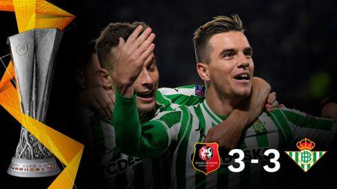 El Betis empató contra el Rennes (3-3).