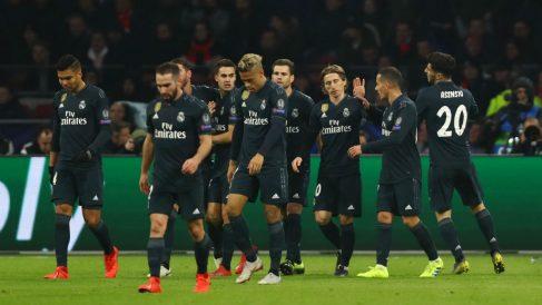 El Real Madrid, durante la celebración del gol de Asensio (Getty).