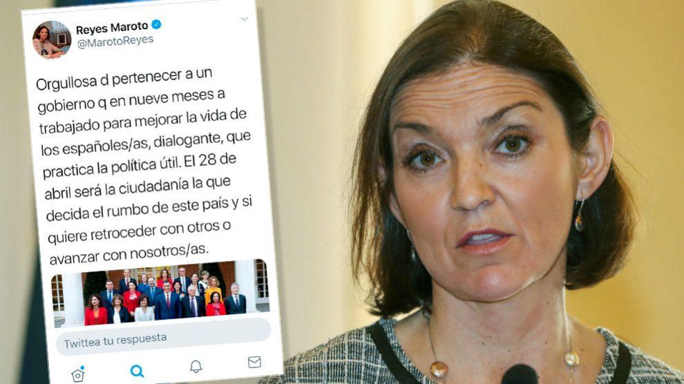 La ministra Reyes Maroto y el tuit con su estrepitosa falta de ortografía.