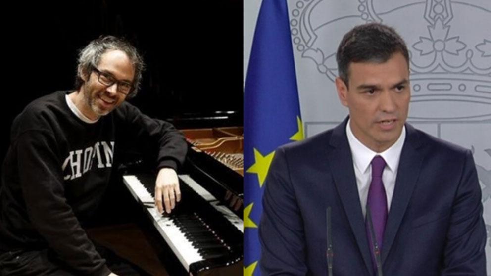 El célebre pianista británico James Rhodes y el todavía presidente del Gobierno, Pedro Sánchez.