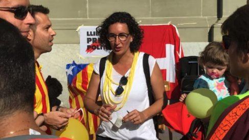 Marta Rovira, durante un acto organizado por ERC en Ginebra (Suiza).