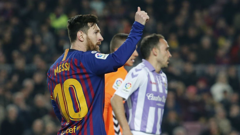 Messi, ante el Valladolid. (AFP)