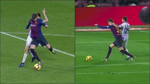 El árbitro señaló penalti sobre Piqué.