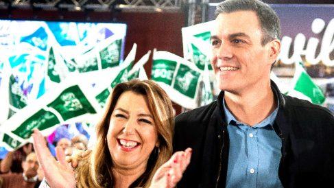 Susana Díaz y Pedro Sánchez este domingo en un acto en Sevilla (Foto: EFE).